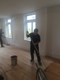 #Mamais workforce #refinishing #wood #floors. What's your next #project? Call us today! bit.ly/1gcjWeK