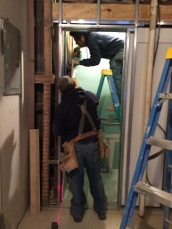 #Mamais workforce installing #framing for pocket #door. What's your next #project? Call us today! http://bit.ly/1gcjWeK