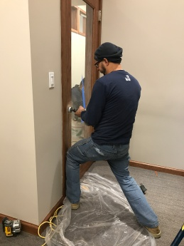 #Mamais workforce prepping #door for #lock installation. What's your next #project? Call us today! http://bit.ly/1gcjWeK