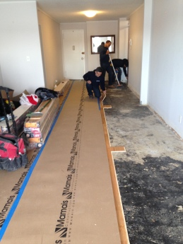 #Mamais workforce installing #wood #flooring. What's your next #project? Call us today! bit.ly/1gcjWeK