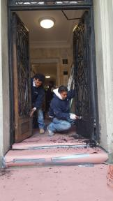 #Mamais workforce restoring entrance #building #doors. What's your next #project? Call us today! bit.ly/1gcjWeK