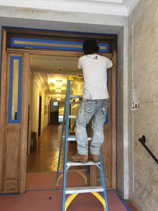 #Mamais workforce #refinishing #oak entrance #doors. What's your next #project? Call us today! bit.ly/1gcjWeK